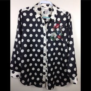 Chico's Black Ivory Polka Dot Blouse Sz 2 12 14
